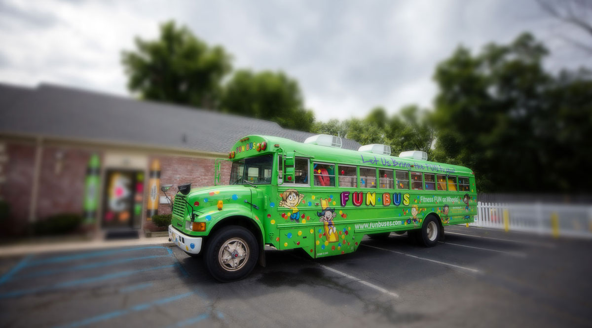 Green Bus from an Indoor Playground Franchise