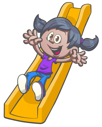 Girl on a slide graphic for a mobile gym franchise