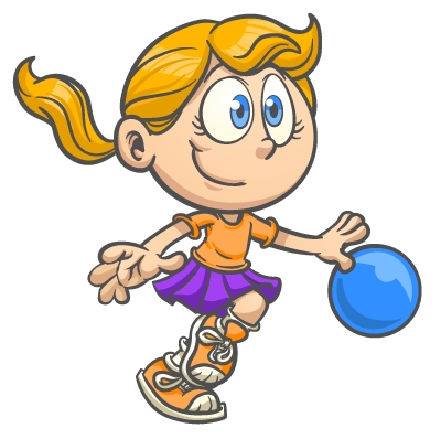 Cartoon girl playing at a children's fitness franchise